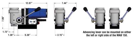 kích thước của máy khoan từ MAb 150