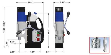 kích thước máy khoan từ mab 455